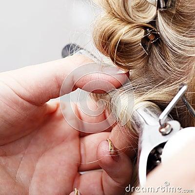 Hand curling hair