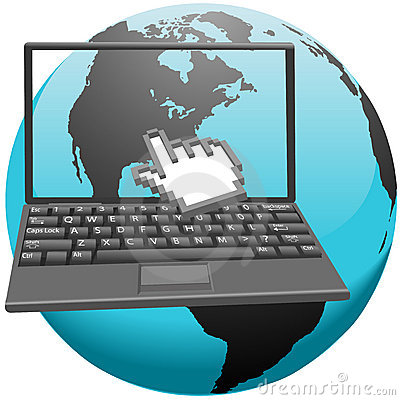 Hand cursor clicks America in laptop screen