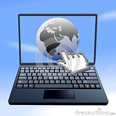 Hand cursor clicks internet world sky computer