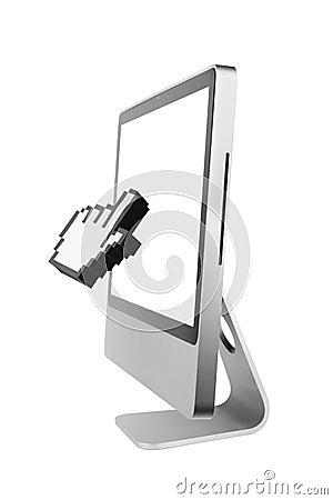 Hand cursor in a computer