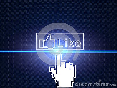 Hand cursor connecting Facebook like button Editorial Image
