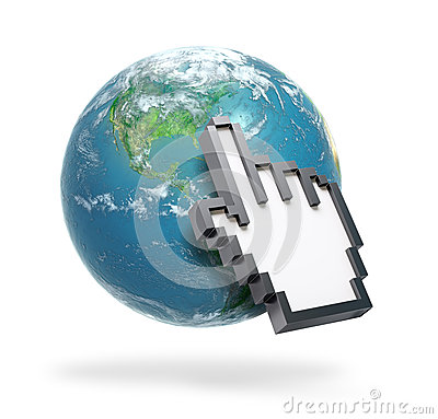 Hand cursor on Earth