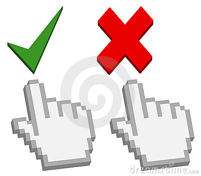 Hand cursor on good and bad button