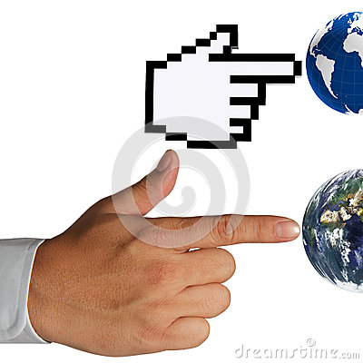Hand cursor and human hand