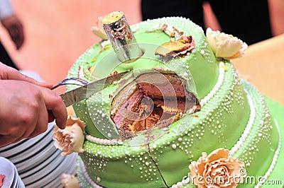 Hand cutting cake
