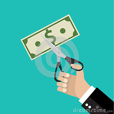 Free Hand Cutting Money Bill In Half With Scissors. Royalty Free Stock Photo - 67956295