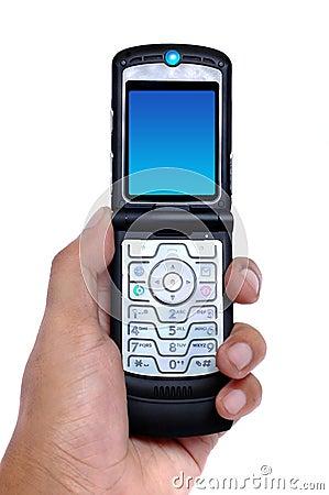 Hand die een celtelefoon houdt
