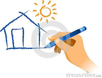 Hand, die ein Haus mit Sonne zeichnet