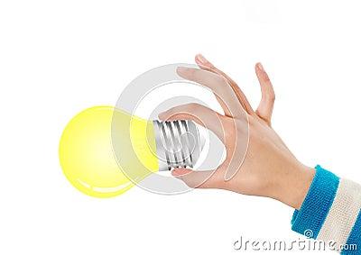 Hand, die Glühlampe anhält