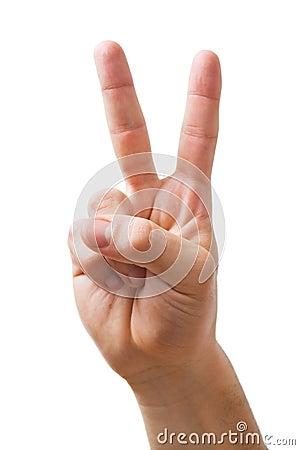 Hand die het teken van V toont