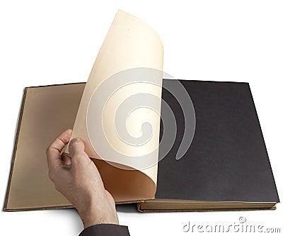 Hand draaiende pagina