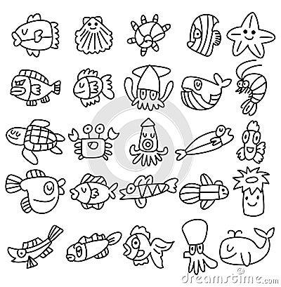 Free Hand Draw Aquarium Fish Icons Set Royalty Free Stock Photography - 22110207
