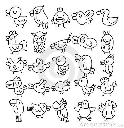 Free Hand Draw Bird Element Royalty Free Stock Images - 22110219