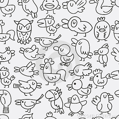 Hand Draw Bird Seamless Pattern Stock Photos - Image: 22139683