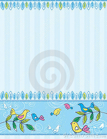 Hand draw birds on striped blue background
