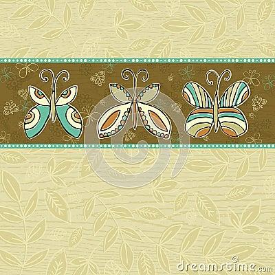 Hand draw  butterflies on  beige background