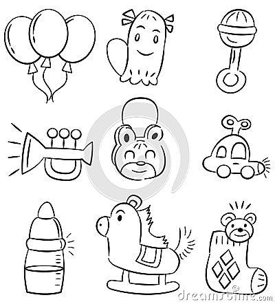 Hand draw cartoon baby product icon