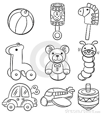 Hand Draw Cartoon Baby Toy Icon Royalty Free Stock Photo Image 18437195