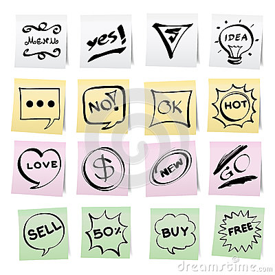 Hand draw cartoon on paper note stickers