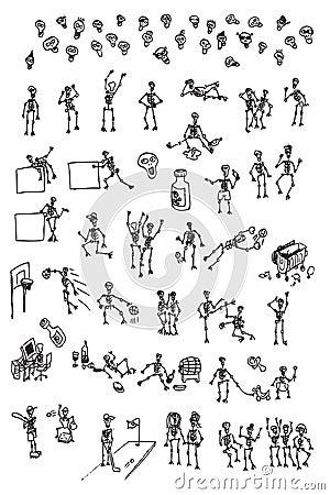 Hand draw cartoon skeleton collection