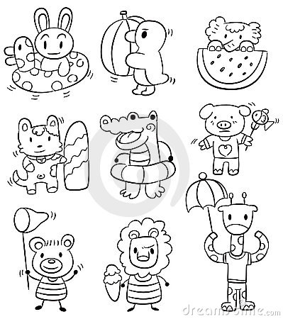 Hand draw cartoon summer animal icon