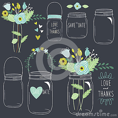 Free Hand Draw Chalkboard Retro Mason Jar Stock Images - 57317904