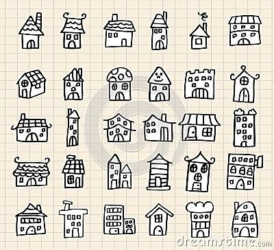 Hand draw cute house