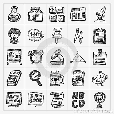 Free Hand Draw Doodle School Icon Stock Images - 40948464