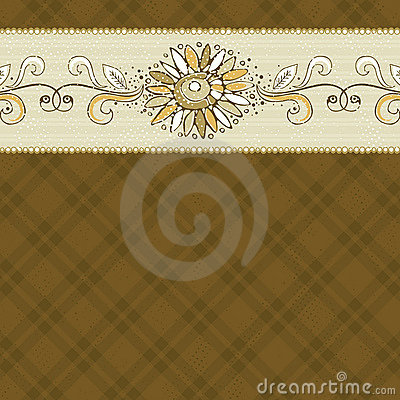 Hand draw  flower on checked brown background