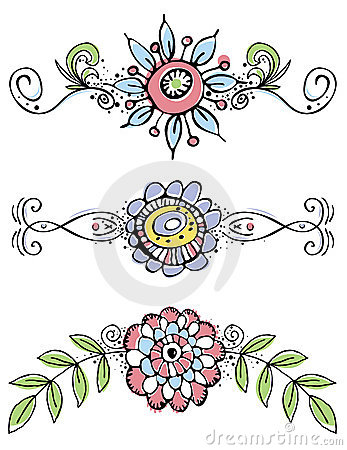 Hand draw flowers with decorative leafs and lines.