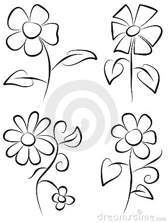 Hand Draw Flowers Royalty Free Stock Photography Image