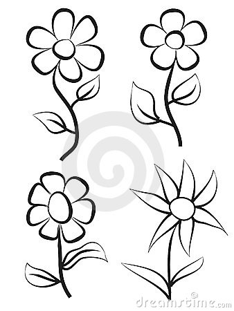 pictures of flowers to draw. Stock Image: Hand draw flowers