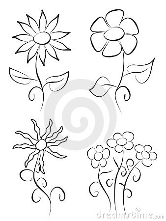 pictures of flowers to draw. Royalty Free Stock Images: Hand draw flowers