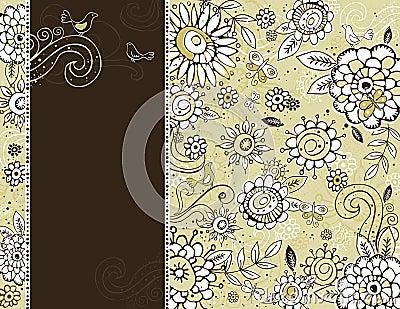 Hand draw  flowers on  beige background