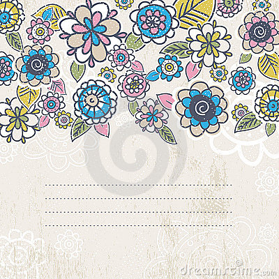 Hand draw flowers on beige background
