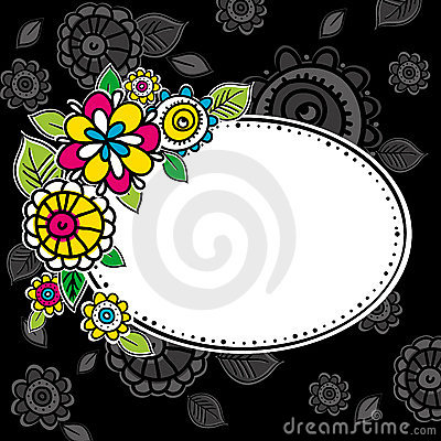 Hand draw flowers with circle frame