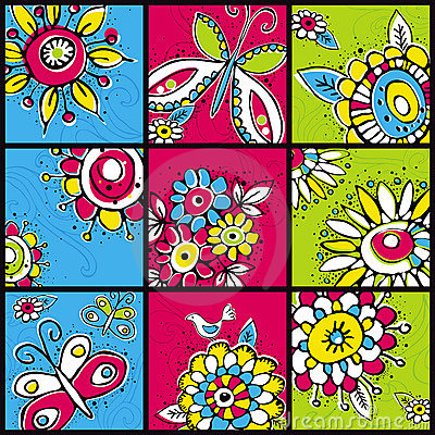 Hand draw  flowers in  color squares
