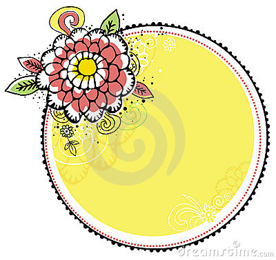 Hand draw flowers combine with circle frame