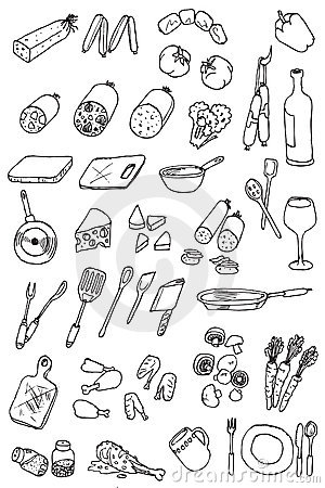 Hand draw food icon collection