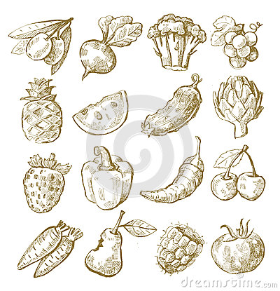 Free Hand Draw Fruit And Vegetable Royalty Free Stock Photo - 31380365