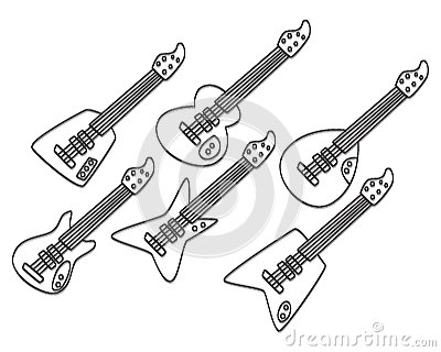 Hand draw guitar set