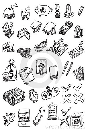 Hand draw money icon collection