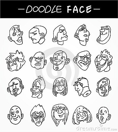Hand draw people face icons set