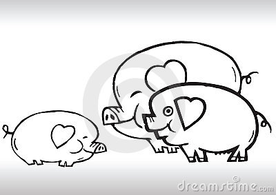 Hand draw pig family love