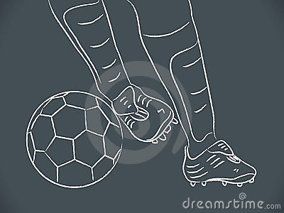Hand draw soccer player