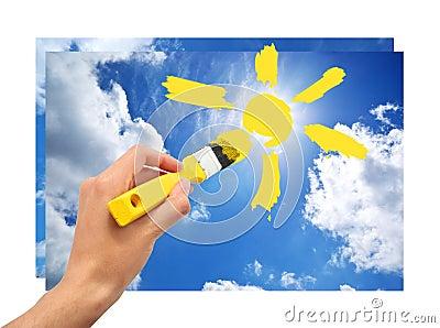 Hand draw the sun in sky