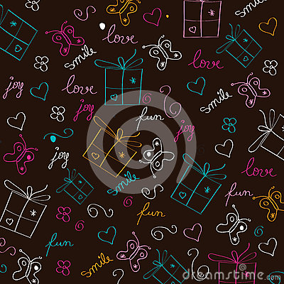 Free Hand Draw Texture - Seamless Pattern With Hearts, Gifts, Butterf Stock Photo - 37772360