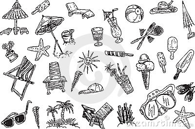 Hand draw vacation elements