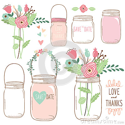 Free Hand Draw Wedding Flower Mason Jar Stock Photos - 57316023
