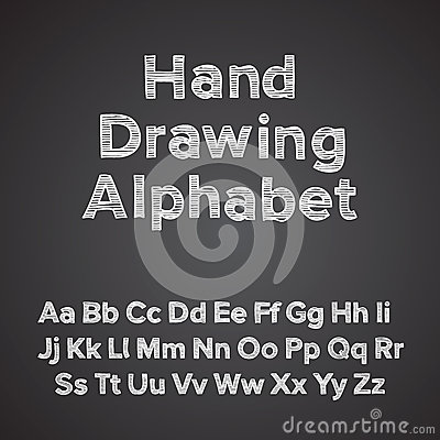 Hand drawing alphabet with chalk effect